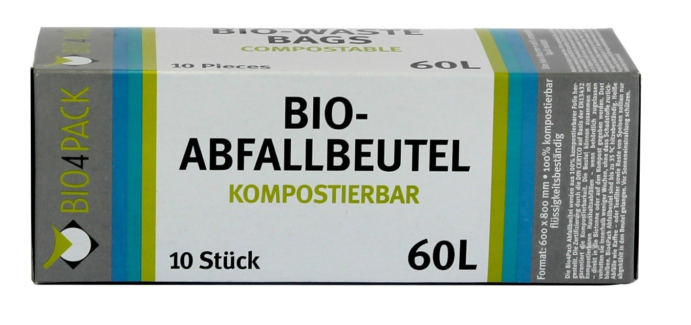 bio4pack abfallbeutel 100 kompostierbar 60 liter 10 st ck pro faltschachtel rolle online. Black Bedroom Furniture Sets. Home Design Ideas