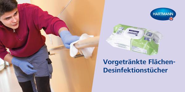 Desinfektion von Flächen mit einem Wisch!