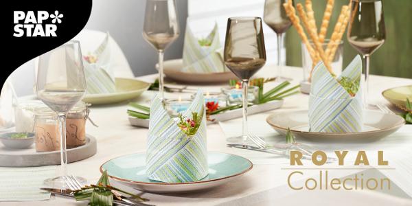 Den Tisch gedeckt mit Papstar Royal