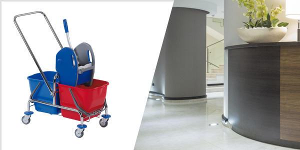 Bequemes reinigen der Böden im Empfangsbereich mit Fahrwagen von floorstar. Sortiment entdecken!