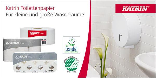 Toilettenpapier von Katrin für die Sanitärräume von Büros und Agenturen. Hier geht's zum Sortiment!